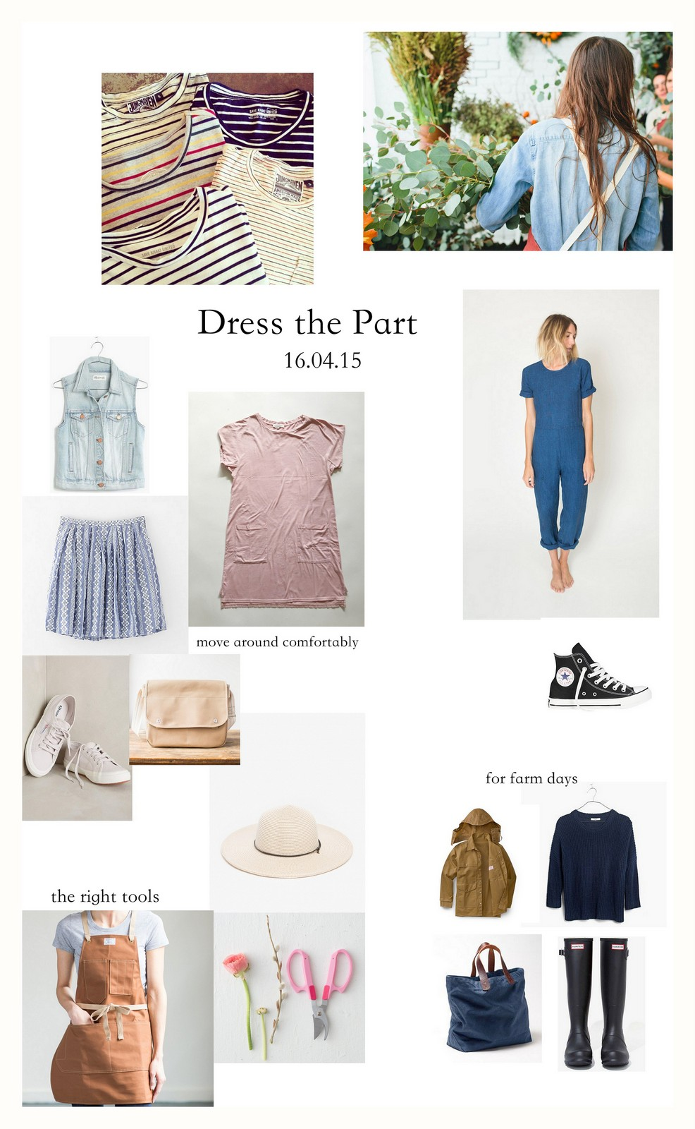 cute summer style, dress like a florist