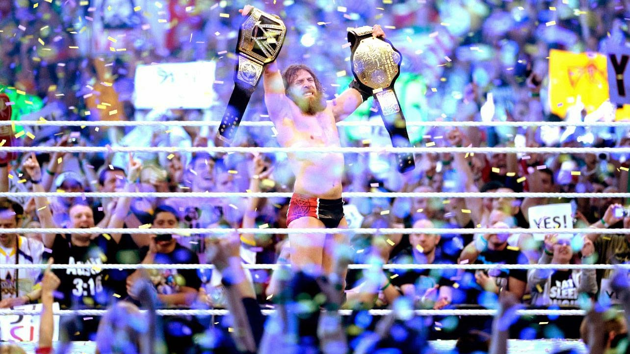 Daniel Bryan WrestleMania 30 WWE World Heavyweight Champion YES running knee Batista Randy Orton Triple H