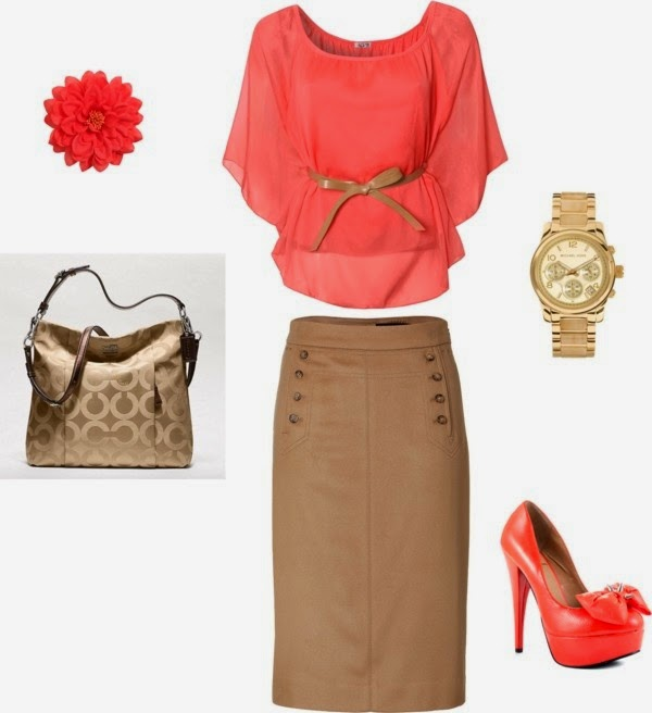 Coral and Tan