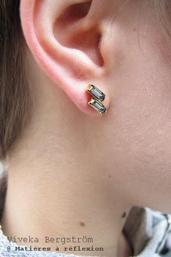 Viveka Bergstrom Boucles d'oreilles strass gris