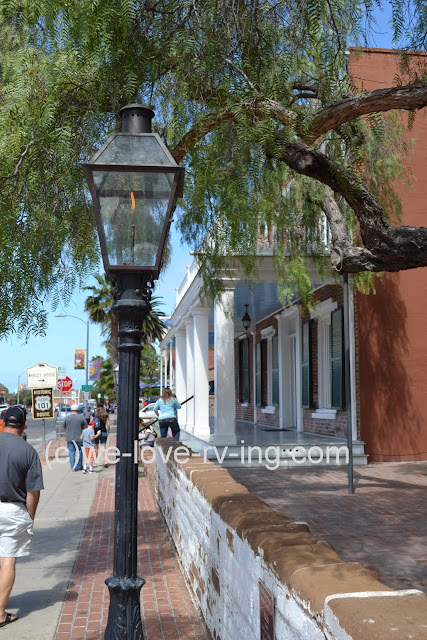 The gas lamp lights the way on San Diego street