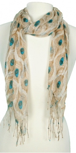 Charming Peacock Feather Pattern Scarf