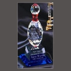 Bowling Pin Crystal Award on Indigo Base