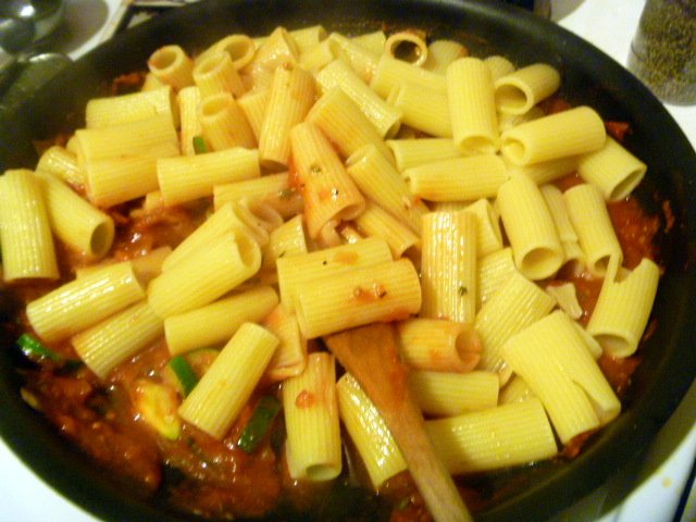 Slice of Southern: Rigatoni with Chunky Vegetable Sauce