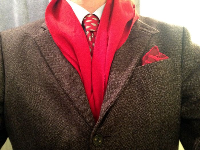 red scarf and combo