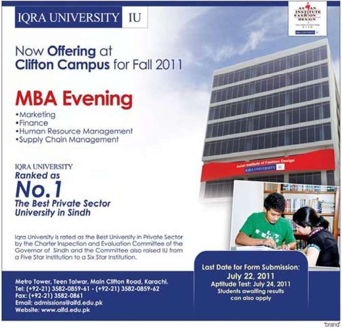 mba evening programme by iqra university markeing finance human resources management supply chain management visist wwwaifdedupk