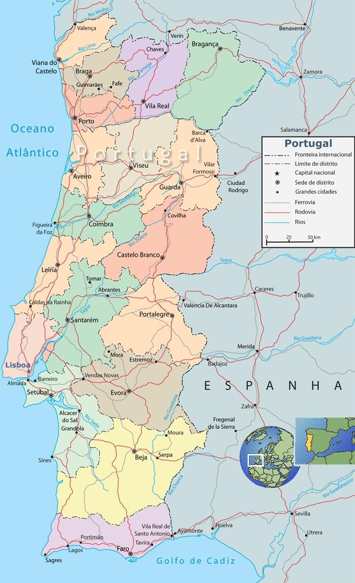 El mapa Político de Portugal