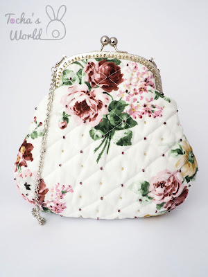 Ikea, cotton, roses, clasp frame, clutch, bag, chain, beaded, handbag, quilted, silver, printed, retro, vintage, ethical fashion,