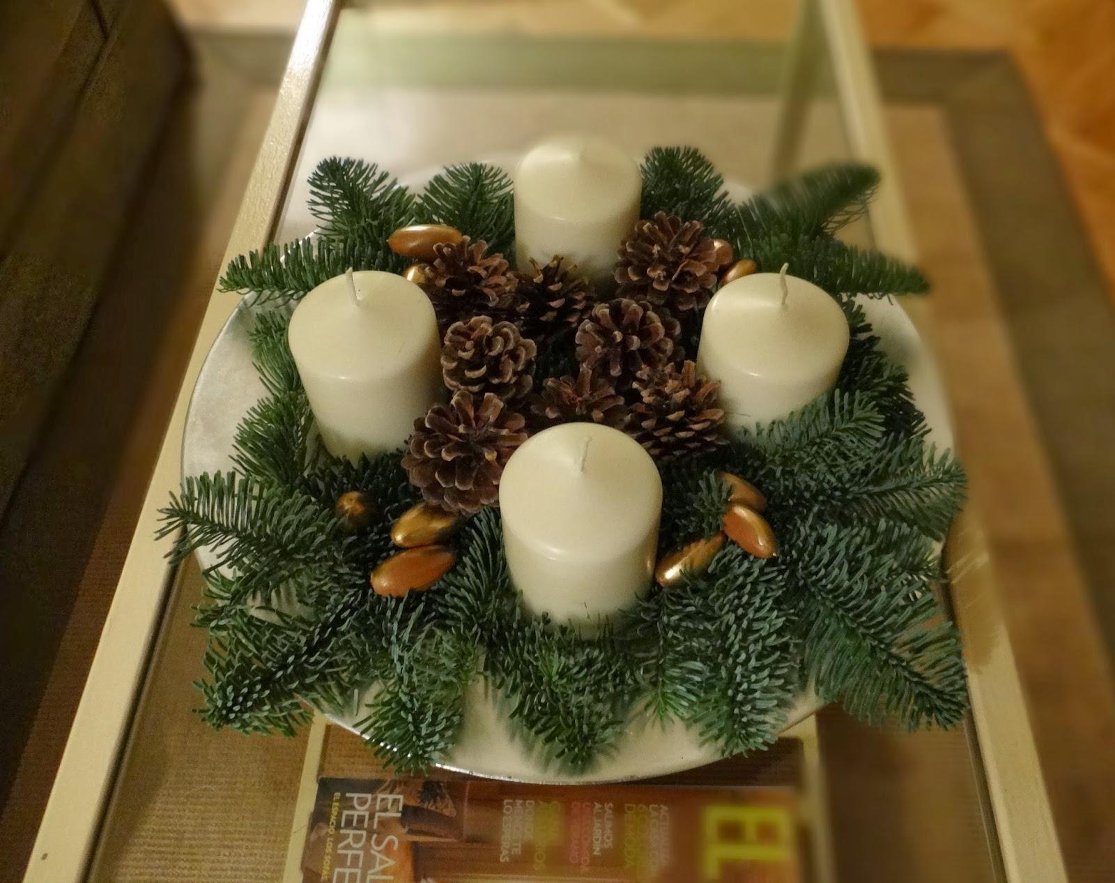 Ca 39 lavanda diy centro de navidad corona de adviento - Centro de navidad con velas ...