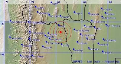 Epicentro sismo 5,5 grados en Mendoza, Argentina, 15 de Noviembre 2013