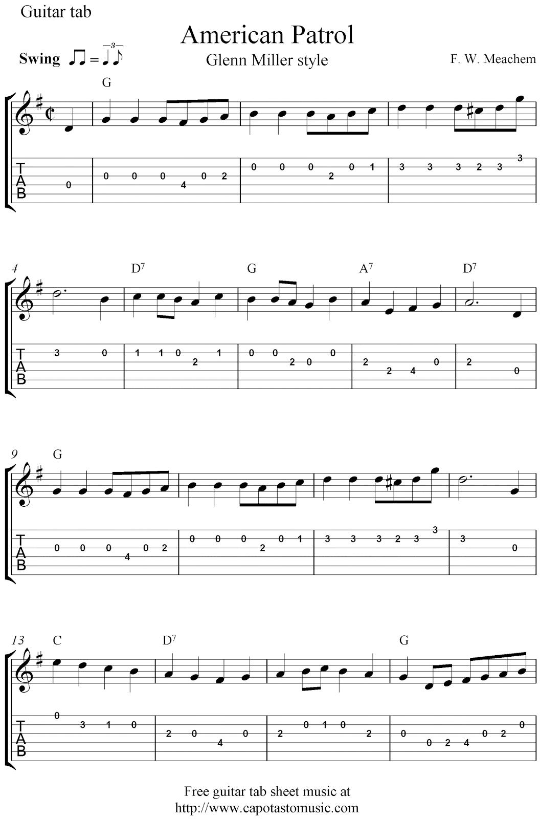 Free guitar tab sheet music, American Patrol