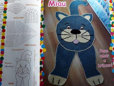 Tapete de croche infantil em formato de gato com passo à passo e gráfico