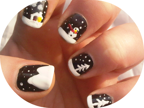 manicure in black and white of a winter scene