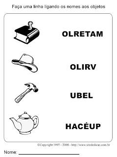Atividades para Alfabetização - Indique o nome da figura