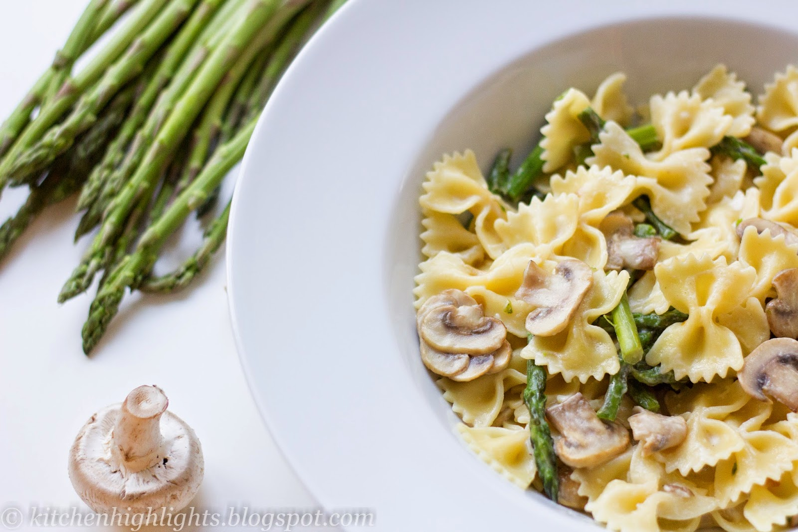 This simple vegetarian pasta combines the flavors of spring—mushrooms and asparagus—in a luscious creamy sauce.