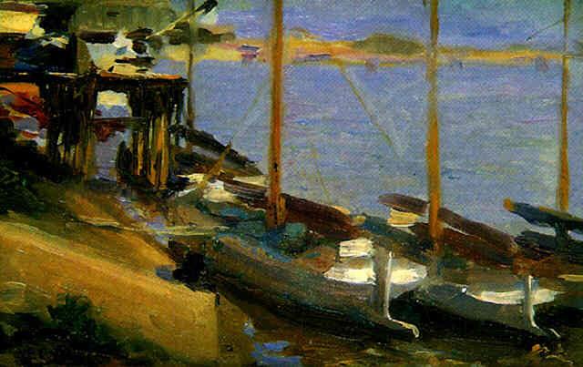 Francisco Pons Arnau, Veleros amarrados en el muelle,  Pintor español, Pintor Valenciano, Pintura Valenciana, Impresionismo Valenciano