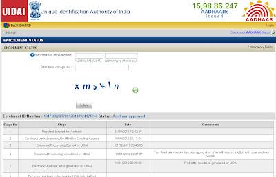 UID Aadhaar Card Status