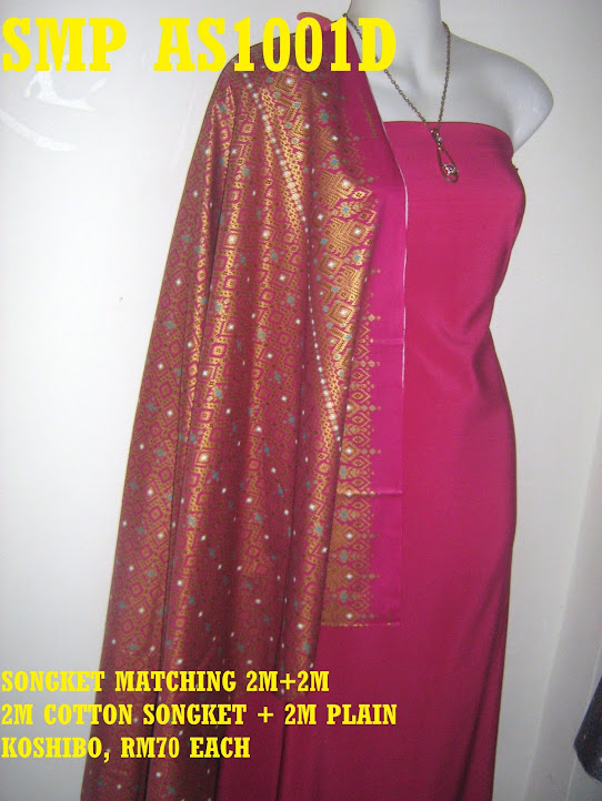 SMP AS1001D : SONGKET MATCHING, 2 M COTTON SONGKET+ 2 METER PLAIN KOSHIBO
