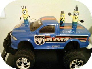 minion puppets on a monster truck