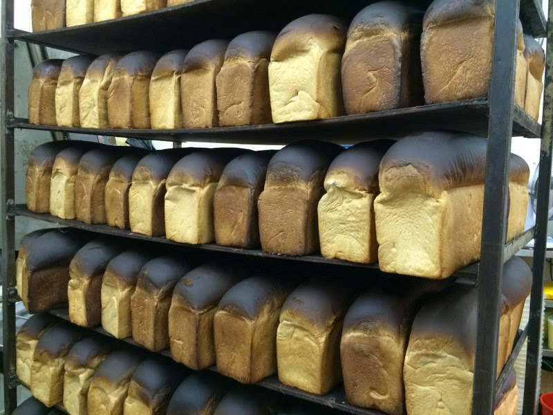Traditional bread lined along the shelves