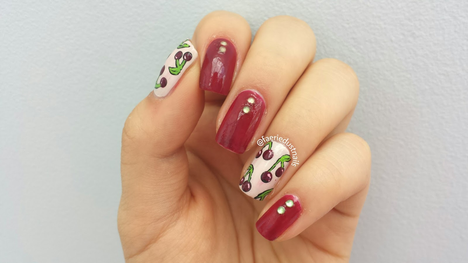 FaerieDust Nails: Vintage Cherry Nails (with pictorial)
