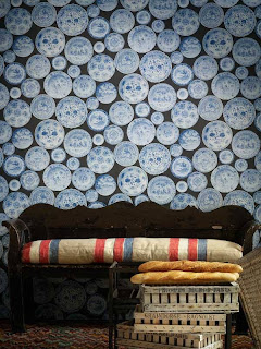 Interior Decorator blue grey wallpaper covering
