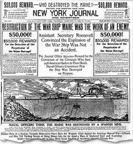 El hundimiento del Maine en la prensa estadounidense del momento