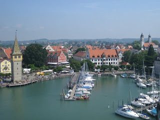 View of Lindau, from the Mangturm to the church towers, from the new lighthouse, Lindau, Germany