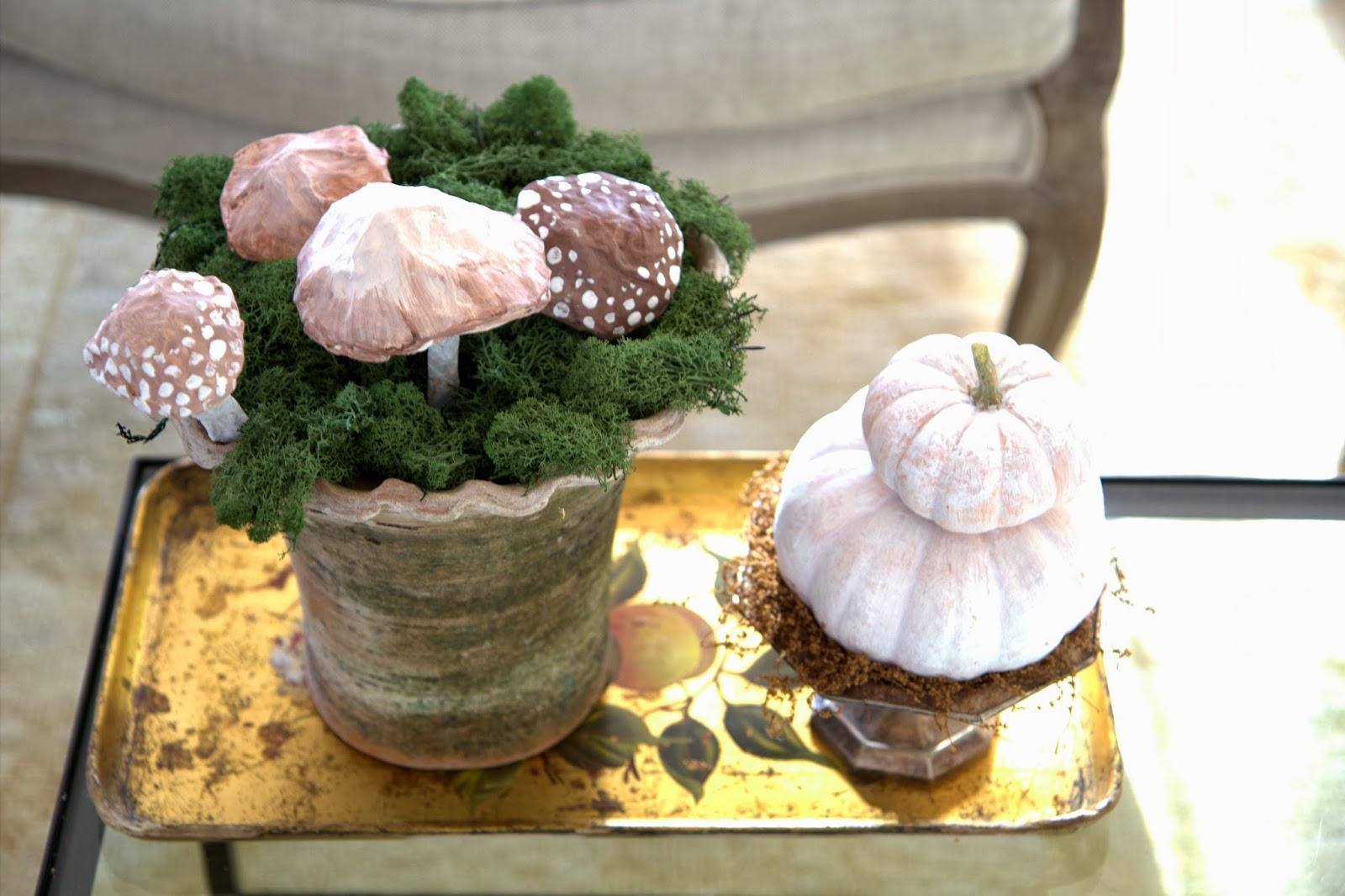 Paper Mache Mushrooms in Moss 6
