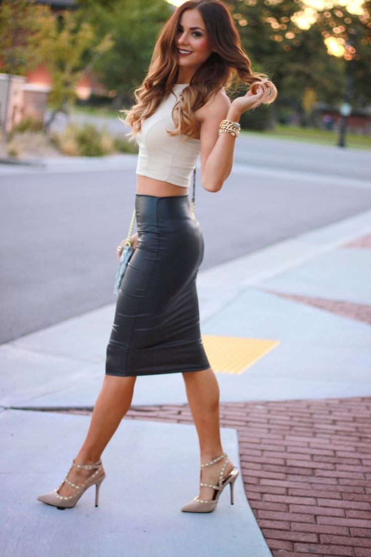 Off-white crop top, leather skirt and studded Louboutin