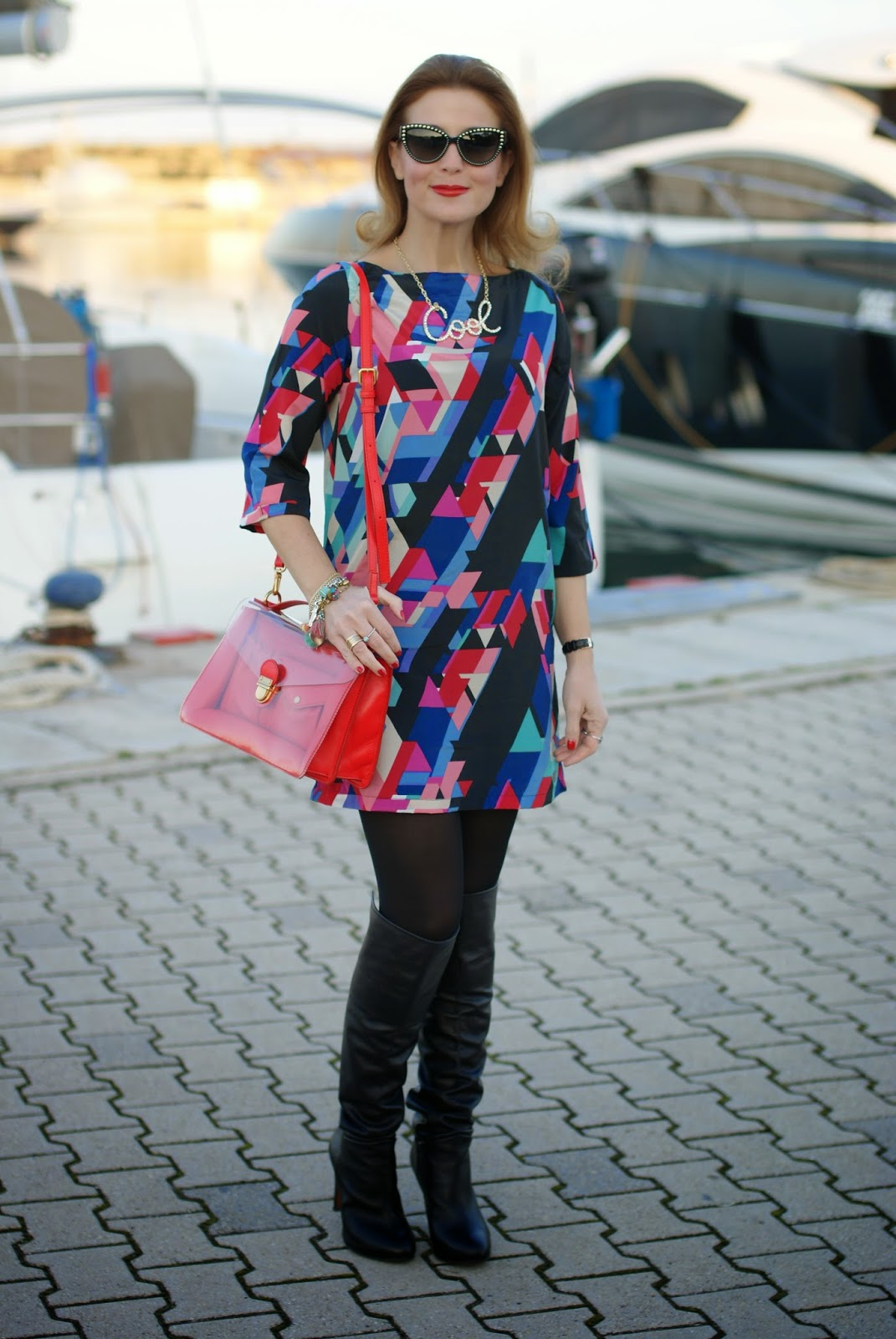 colorful dress and over the knee boots on Fashion and Cookies fashion blog, fashion blogger style