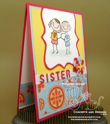 Picture of the front of my sister card sitting at a right angle to show dimensions of the elements
