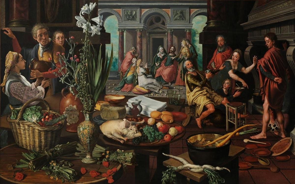 Kunst christus in het huis van martha en maria pieter aertsen