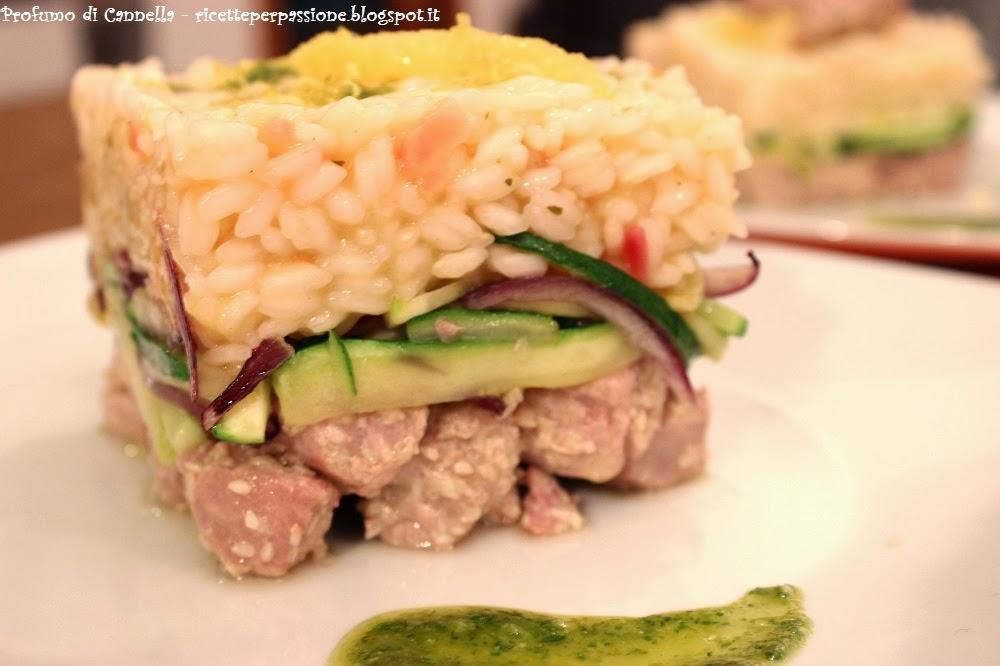 risotto al limone con tonno fresco e verdurine - piatto ricco