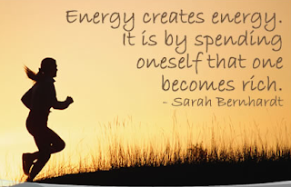 Girl running, Energy creates energy. It is by spending oneself that we become rich.