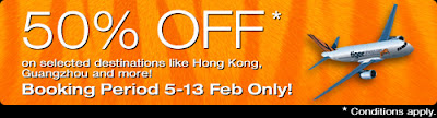 Tiger Airways - NTUC 50% Promotion