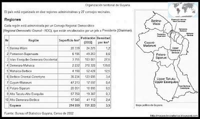 Mapa de la organización política de GUYANA, nombre de las regiones, blanco y negro