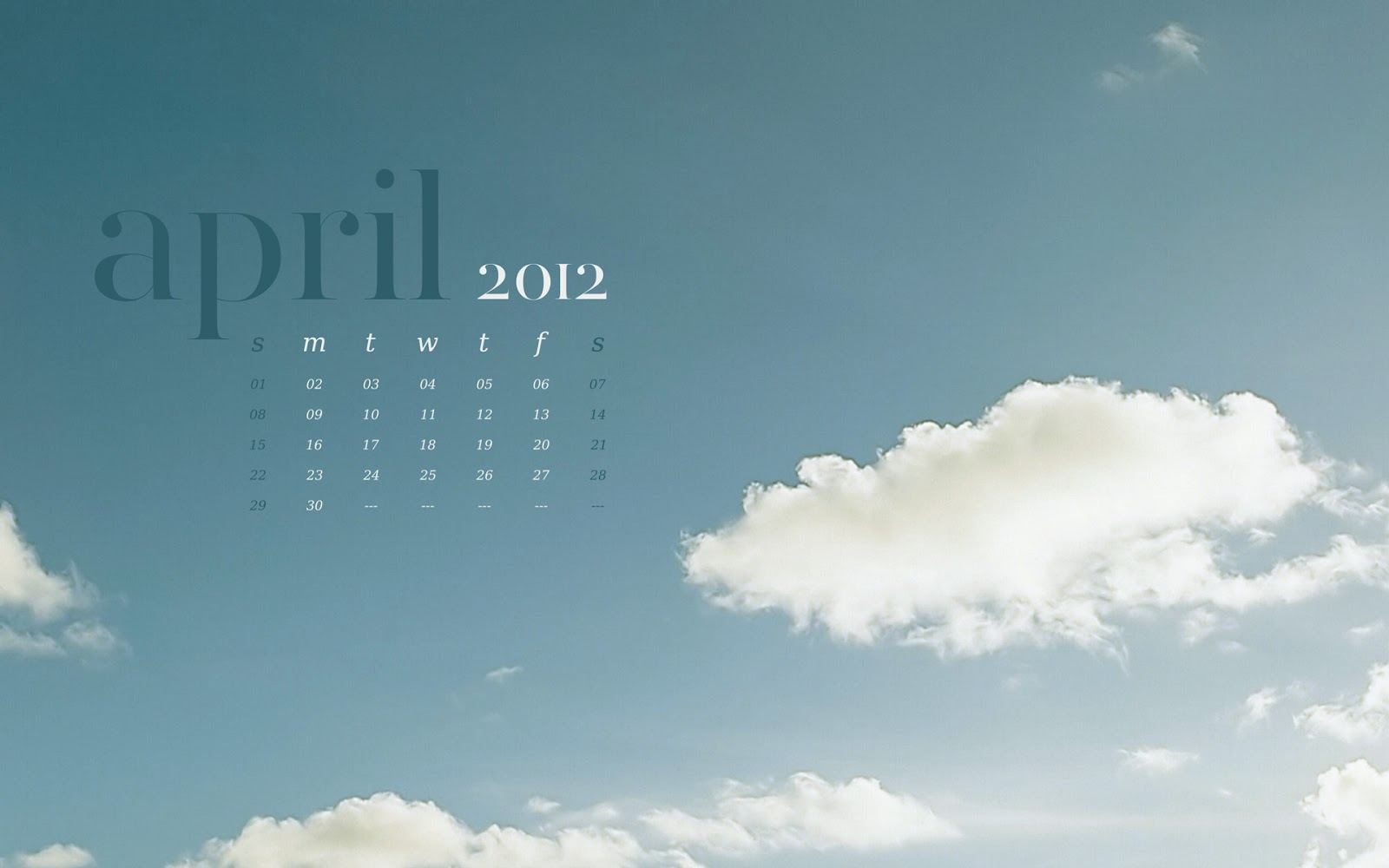 Calendar April 2012 wallpaper background skies