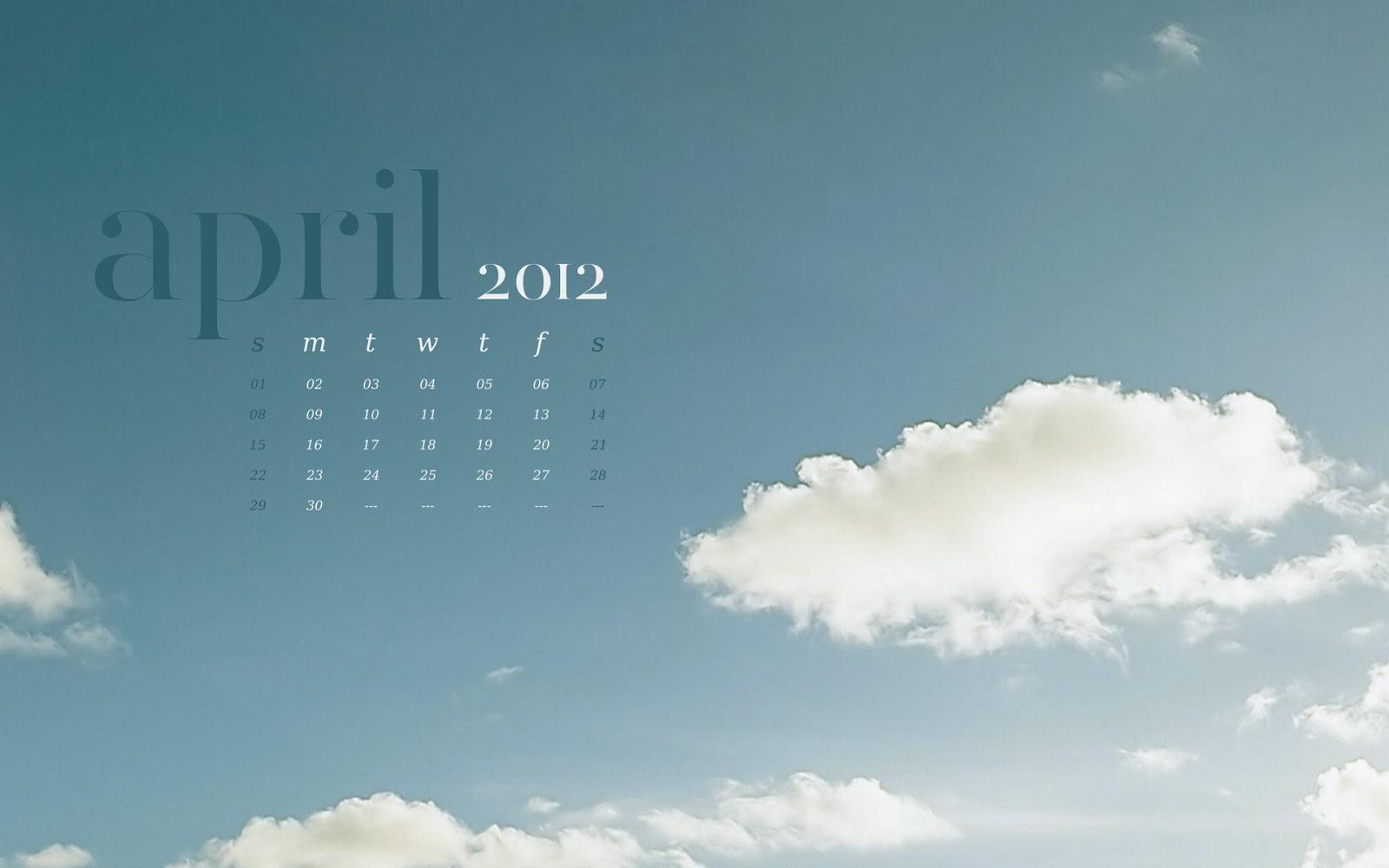 Calendar April 2012 wallpaper background skies