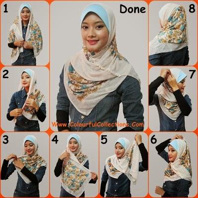 cara pakai shawl 4