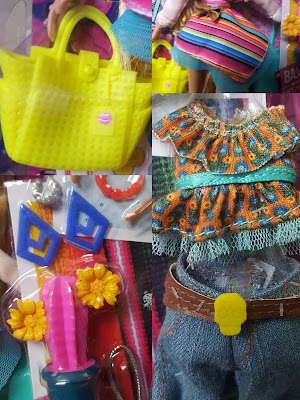 close up Bratz Doll Raya accessories and clothes