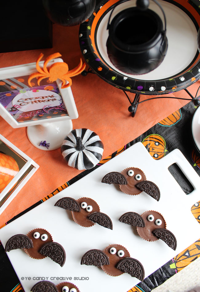 Reese's bats, Oreos, black & white pumpkin, halloween party treats
