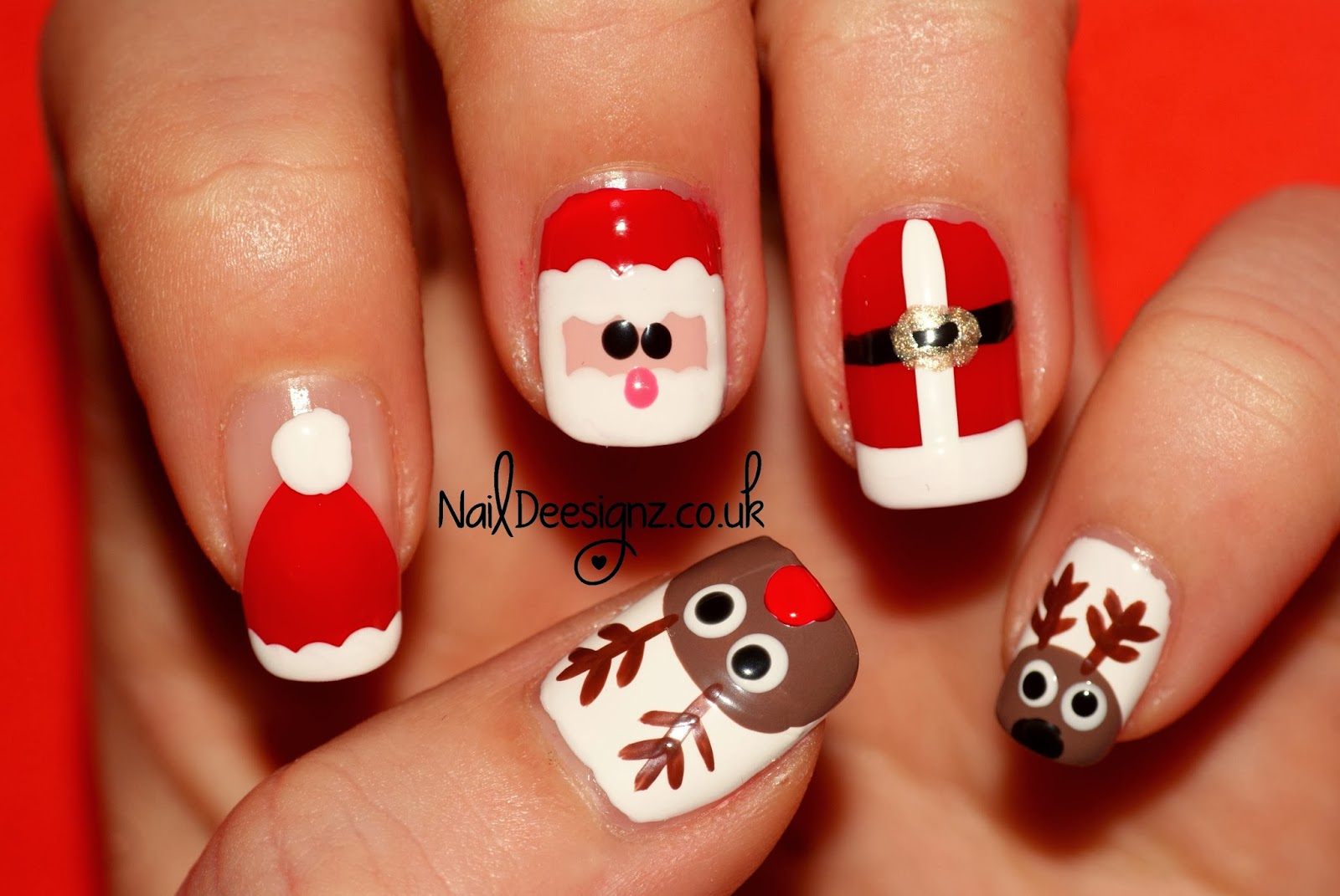 Santa His Reindeer Nail Art