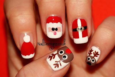 NailDeesignz: Santa & his Reindeer Nail Art