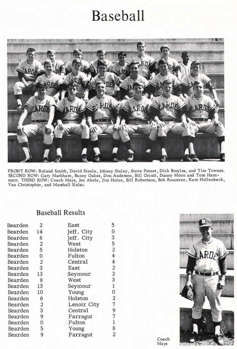 Old Knoxville Base Ball Bearden High School 1969