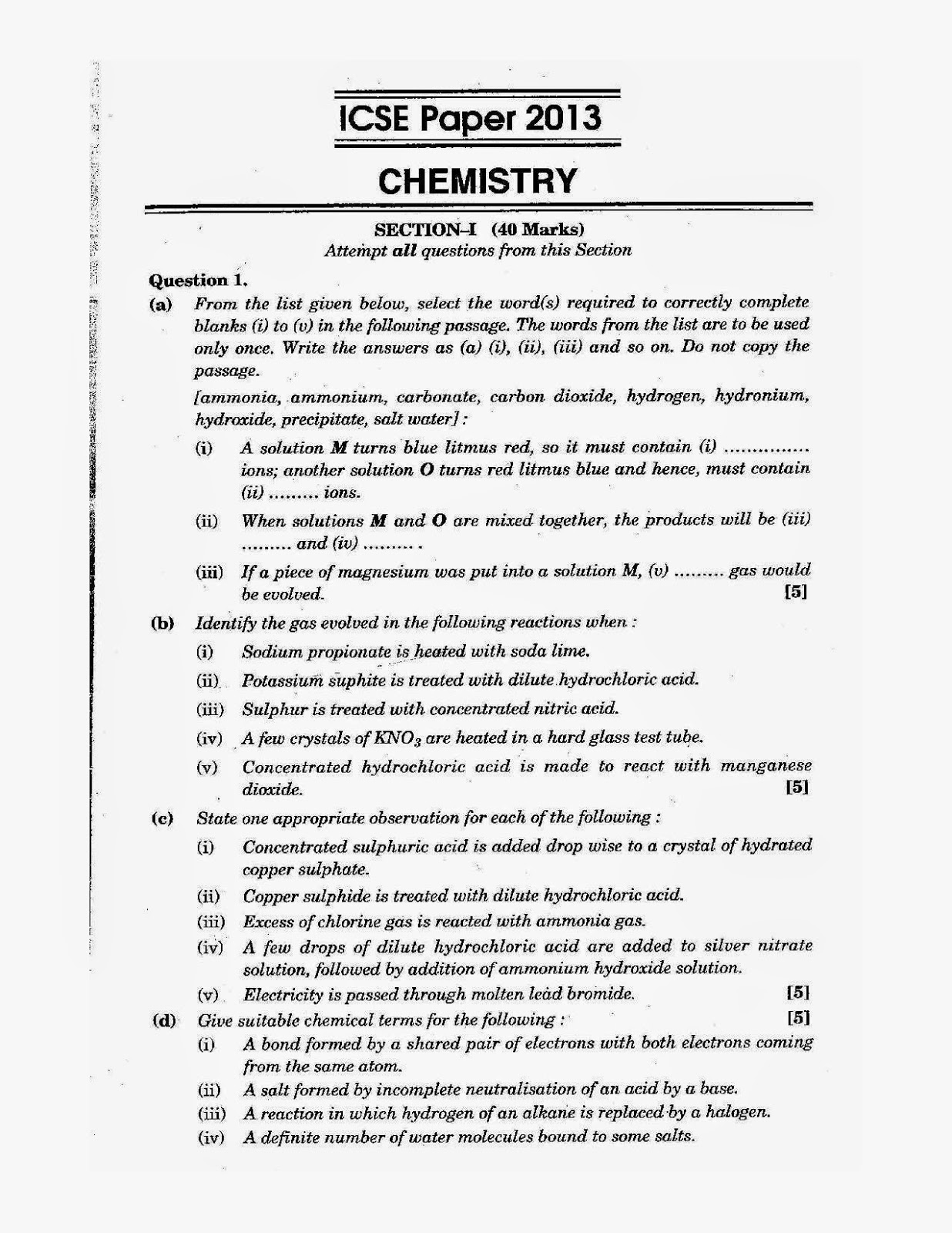 icse class 10th chemistry solved question paper 2013