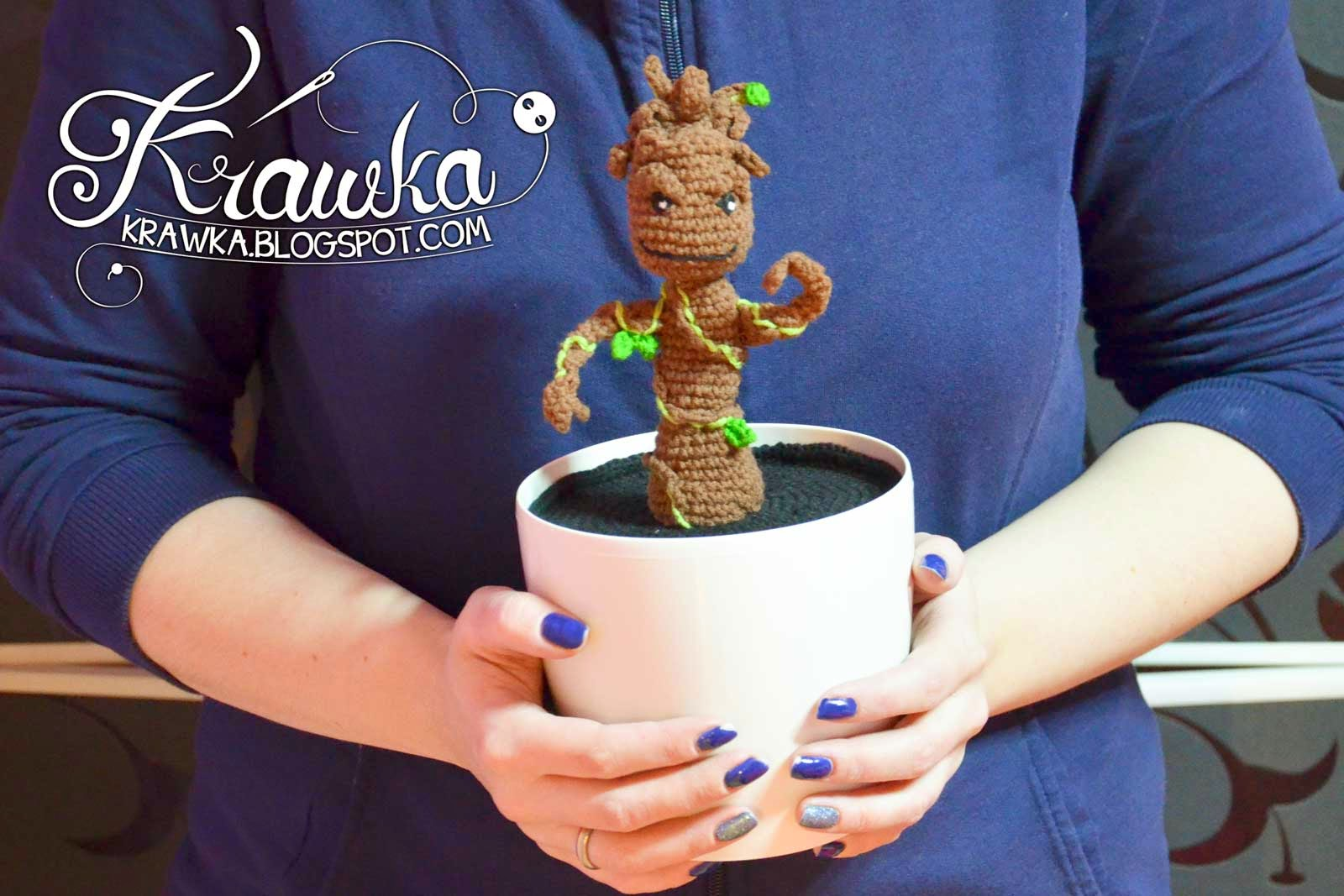 Dancing Baby GROOT in pot Crochet Pattern by Krawka
