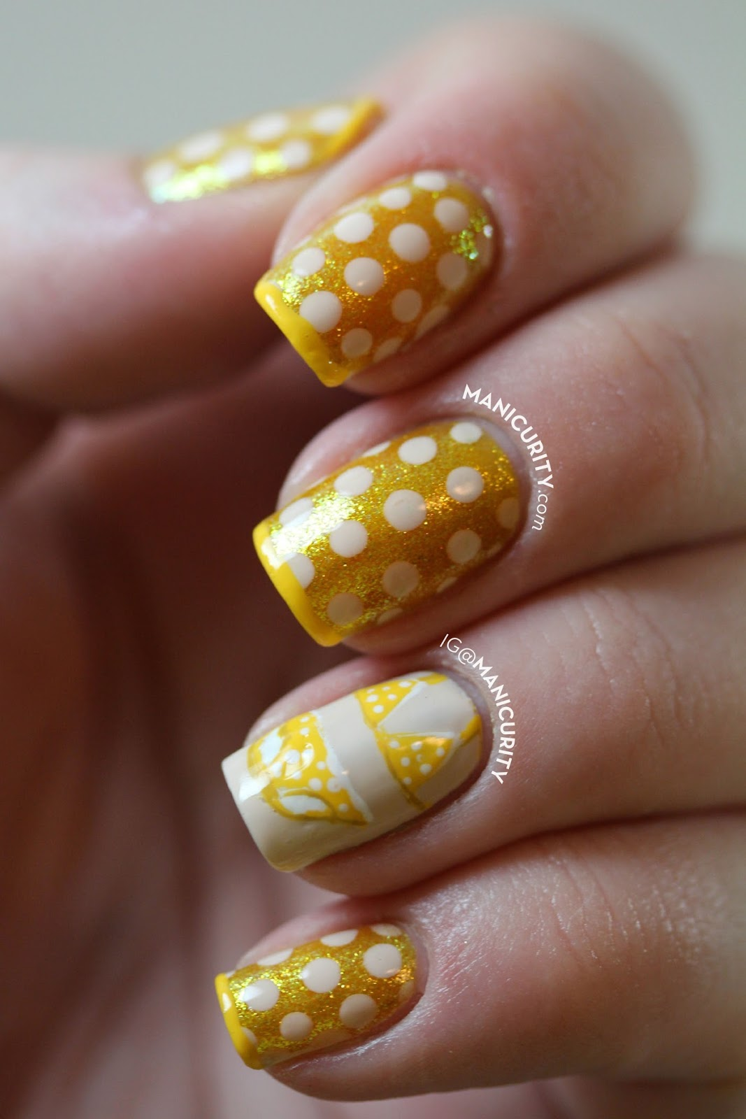The Digit-al Dozen: Itsy Bitsy Teeny Weeny Yellow Polka Dot Bikini Nails - dotticure and freehand bikini nail art | Manicurity.com @emmathea