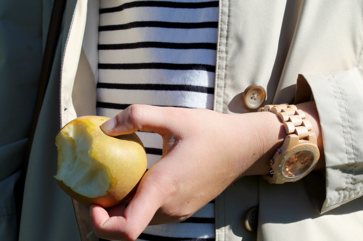 Apple picking outfit- trench coat, Breton and JORD wooden watch