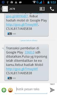 Notifikasi SMS Refund Dana Aplikasi/Game Android di Google Play Store